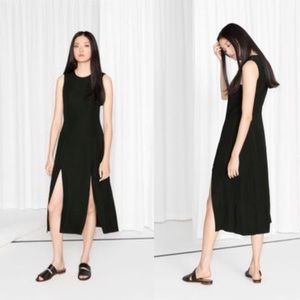 & OTHER STORIES BLACK DOUBLE FRONT SLIT MAXI DRESS